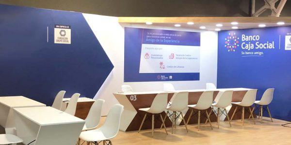 Montaje de stand con varios ambientes para el Banco Caja social