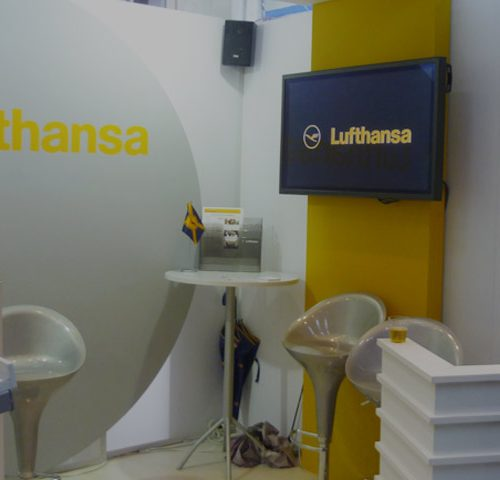 Stand Lufthansa en feria Anato en Bogotá