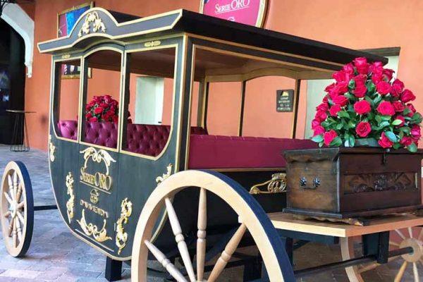 Carroza a escala, con silleteria en cuero, con interior ambientado a la época.