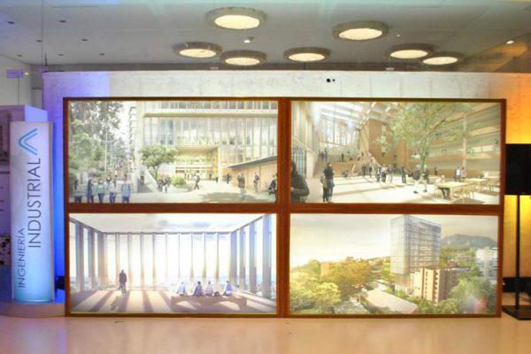Muro caja de luz de 5 mts x 2.40 mts con imágenes del nuevo edificio de la Facultad de Ingeniería.