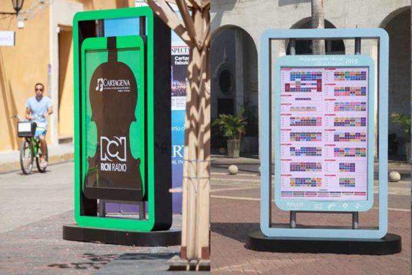 Cajas de luz RCN RADIO Y RCN TV, para anunciar la señalización del evento Festival de Cine de Cartagena